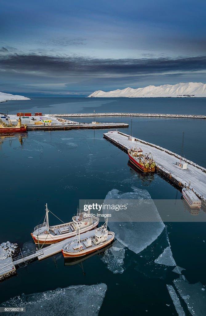 Aerial of Dalvik Harbor, Northern Iceland : Stock Photo