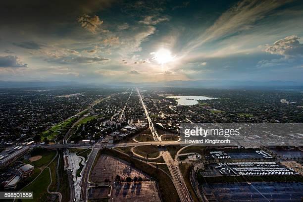 Aerial of Denver Interstae 70 and Sloan Lake