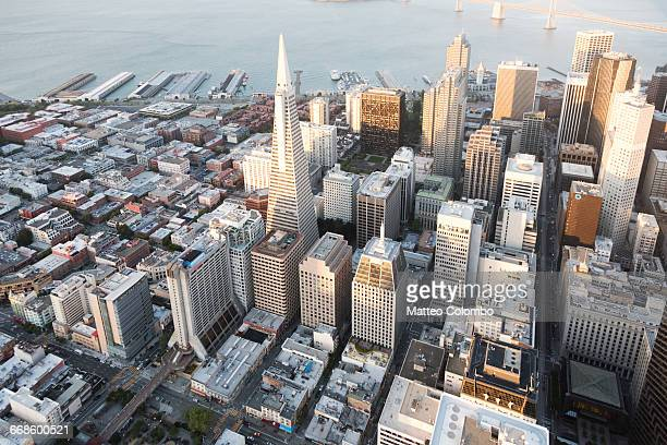 Aerial of downtown at sunset, San Francisco, USA