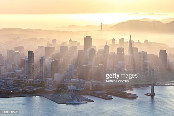aerial of downtown at sunset, san francisco, usa - san francisco fotografías e imágenes de stock