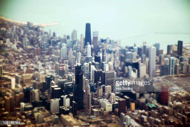 Aerial of Downtown Chicago, Tilt Shift