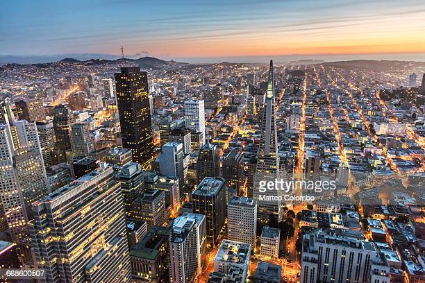 Aerial of downtown district at dusk, San Francisco