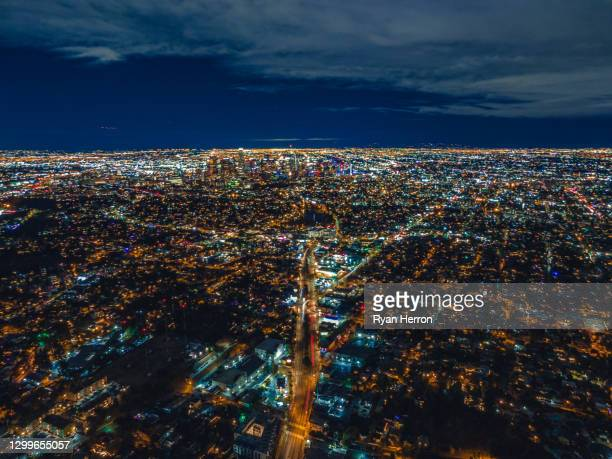 aerial of downtown los angeles at night - southern california stock pictures, royalty-free photos & images