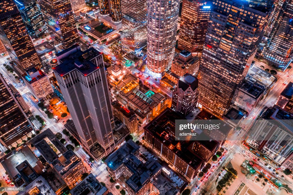 Aerial of Downtown Los Angeles California at Night : Stock Photo