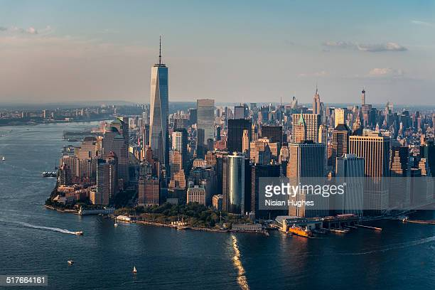 Aerial of downtown Manhattan, NYC