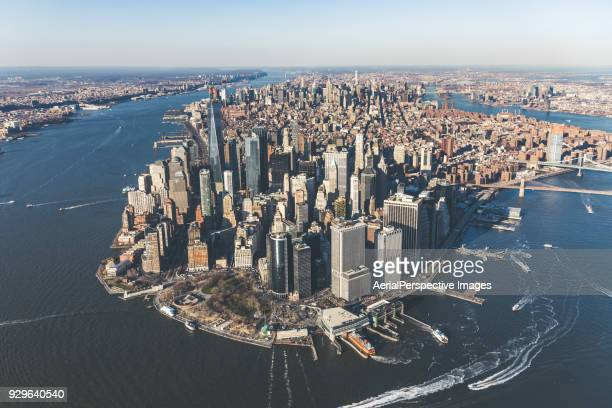 aerial of downtown manhattan, nyc - lower manhattan stock photos and pictures