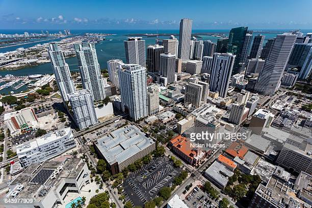 aerial of downtown miami looking east - downtown miami stock pictures, royalty-free photos & images
