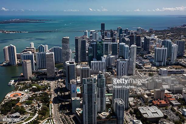 aerial of downtown miami sunny day - downtown miami stock pictures, royalty-free photos & images