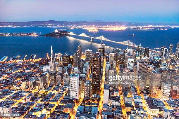 aerial of downtown san francisco, usa - oakland california skyline stock pictures, royalty-free photos & images
