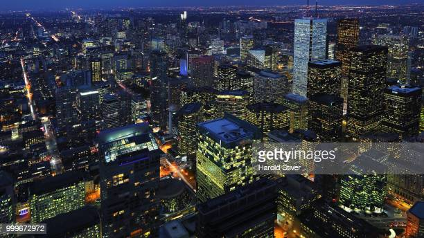 Aerial of downtown Toronto, Canada city center at night