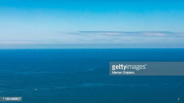 aerial of egmond aan zee offshore windfarm - merten snijders stock pictures, royalty-free photos & images
