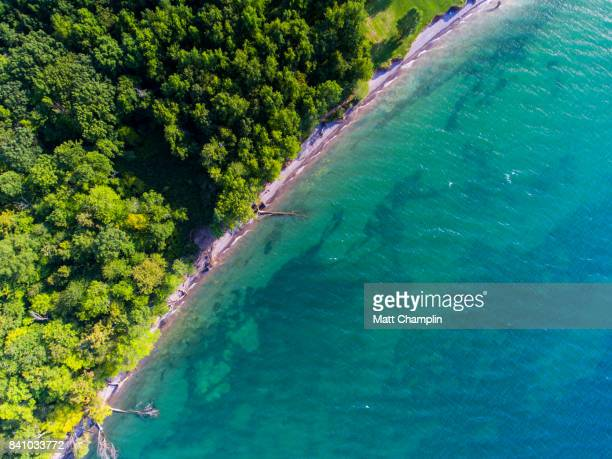 aerial of erosion along lake ontario shoreline - remote controlled stock photos and pictures