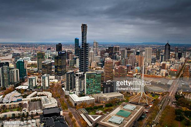 Aerial of Eureka Tower, southbank and central business district.