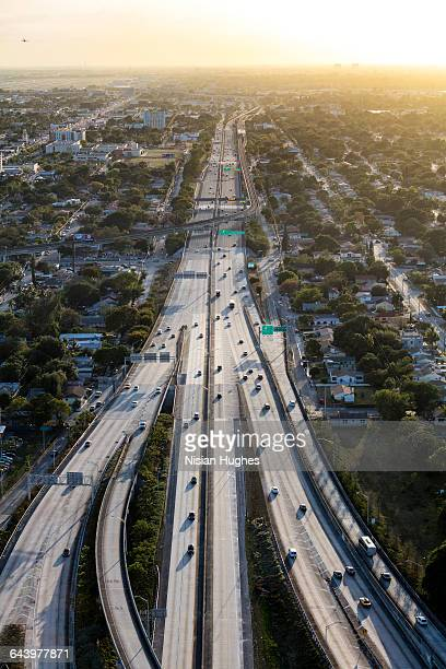 Aerial of expressway end of day Miami FL