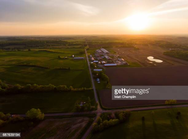 Aerial of farm during beautiful Springtime sunset