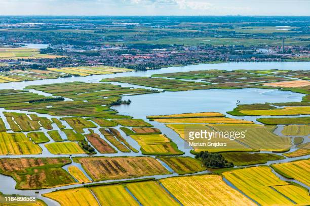 aerial of farm islands of wormerland - merten snijders stock pictures, royalty-free photos & images