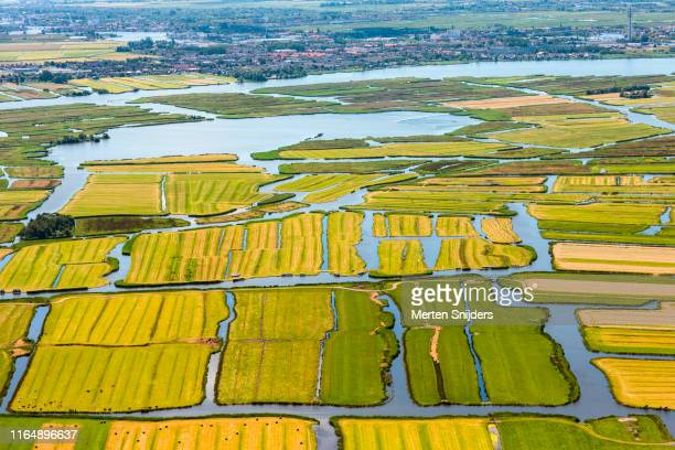 aerial of farm islands of wormerland - national recreation area stock pictures, royalty-free photos & images