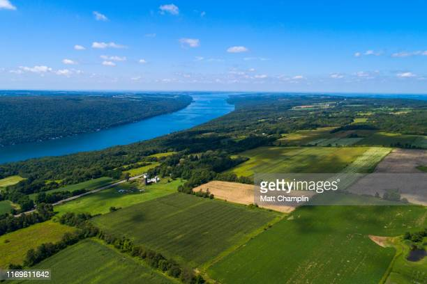 aerial of farmland and protected forest around lake - finger lakes stock pictures, royalty-free photos & images