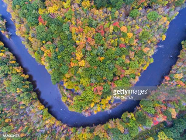 aerial of fishermen on salmon river, ny in autumn - eastern usa stock photos and pictures
