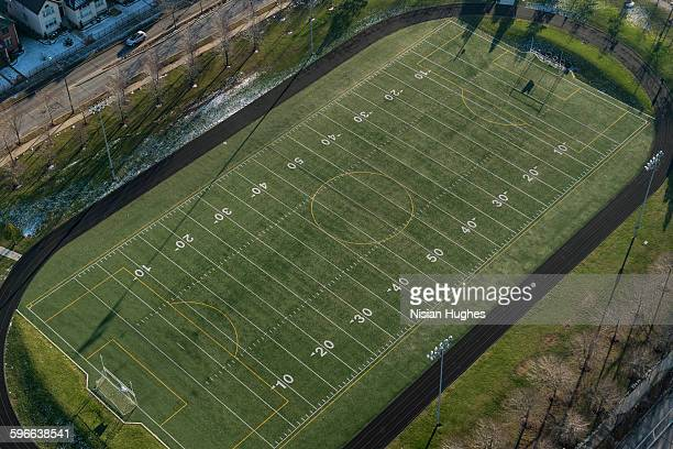 Aerial of football field in suburbs of Chicago