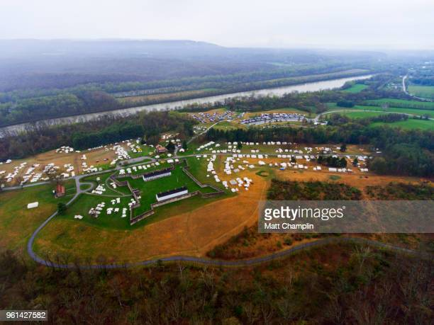 aerial of fort frederick and campground for market fair - french_and_indian_war stock pictures, royalty-free photos & images