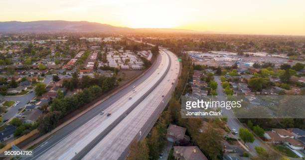 Aerial Of freeway in Silicon Valley at sunset. Sunnyvale, USA