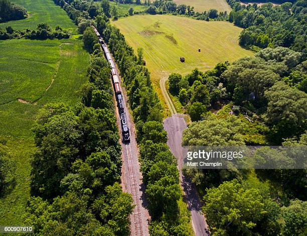 Aerial of Freight train on track