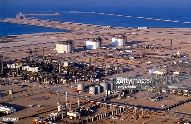 Aerial of gas refinery offshore biggest natural gas reservoir in world dubbed North Field