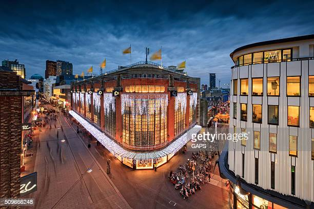 aerial of grote marktstraat in the hague - the hague stock photos and pictures