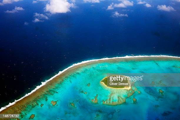 aerial of ha'apai group. - tonga stock pictures, royalty-free photos & images
