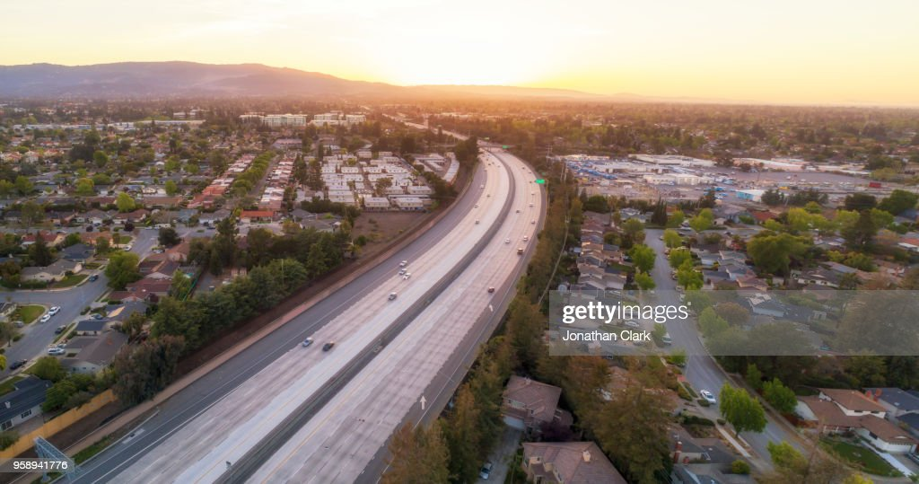 Aerial Of Highway 280 in Silicon Valley. Cupertino, USA : Stock Photo