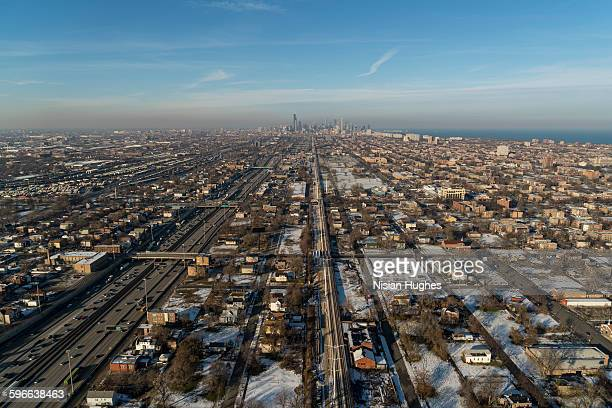 Aerial of highway to Chicago, Illinois