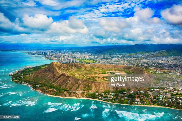 Aerial of Honolulu Hawaii Beyond Diamond Head