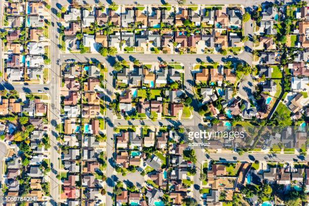 aerial of houses in california suburbs - community building stock pictures, royalty-free photos & images