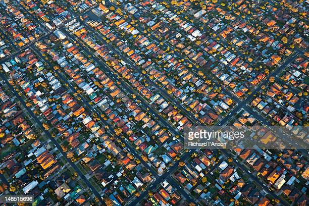 Aerial of houses in northern suburbs.