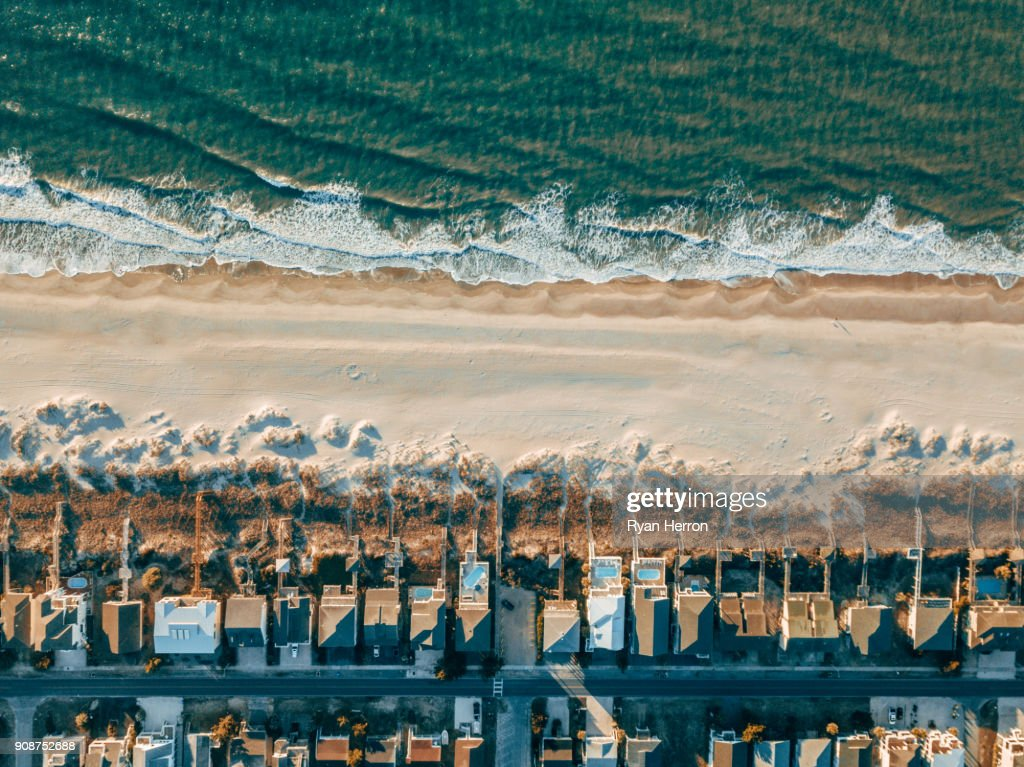 Aerial of Houses on the Beach : Stock Photo