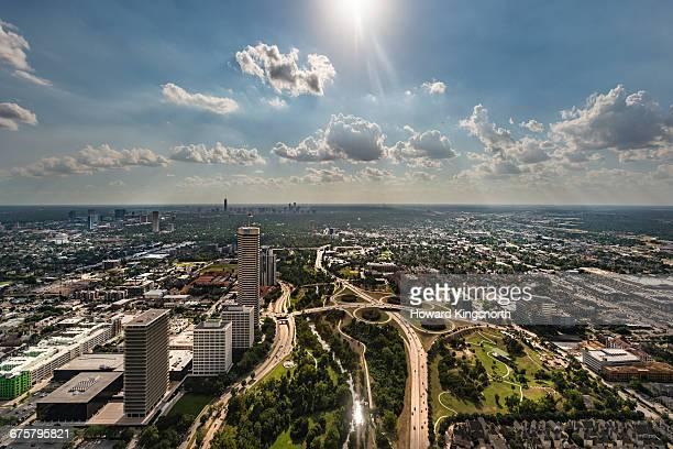 Aerial of Houston suburbs