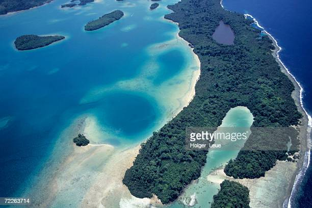 Aerial of islands in Blackett Strait, Solomon Islands