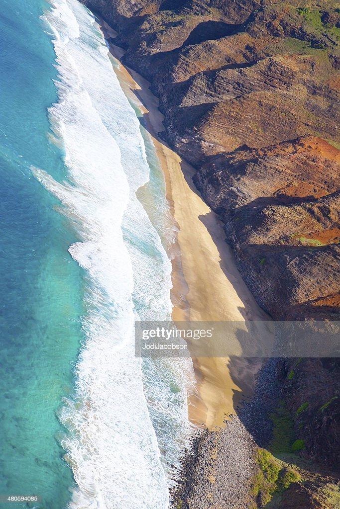 Aerial of Kauai, Hawaii coastline : Stock Photo