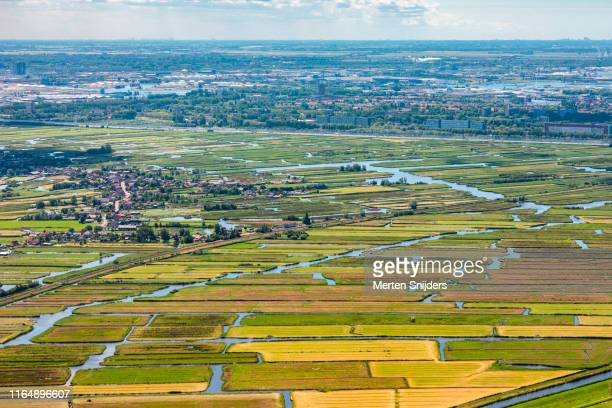 aerial of landsmeer and waterland farm islands - national recreation area stock pictures, royalty-free photos & images