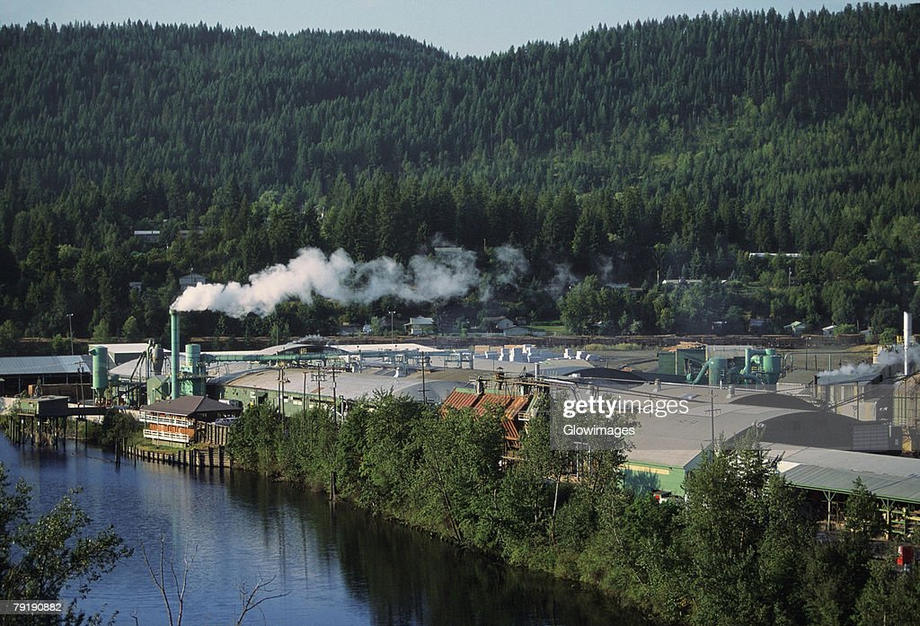 Aerial of large sawmill, Idaho : Stock Photo