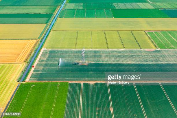 aerial of lelystad countryside farm field with sprinkler - merten snijders stock pictures, royalty-free photos & images