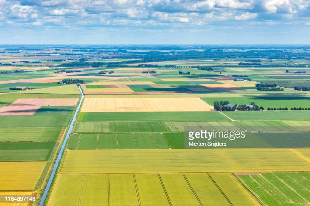 aerial of lelystad countryside farm fields - merten snijders stock pictures, royalty-free photos & images