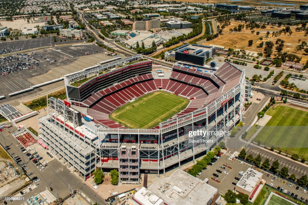 aerial of Levi's Stadium in Santa Clara CA. a football stadium and the home of the NFL San Francisco 49ers. : Stock Photo