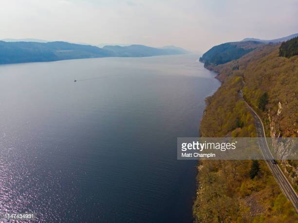 aerial of loch ness - loch ness stock photos and pictures