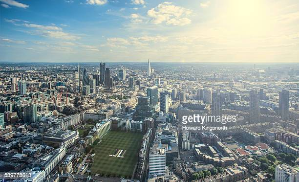 Aerial of London City looking south