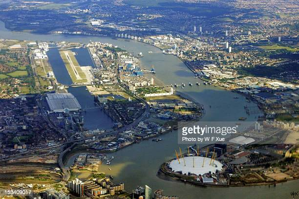 Aerial of London O2 Arena and North Greenwich