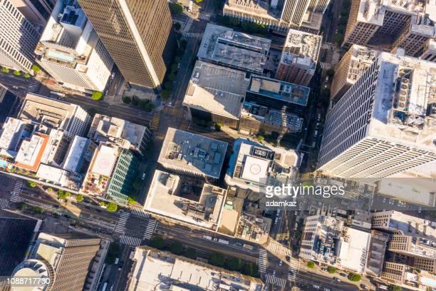 antenna di los angeles, skyline della california - los angeles città foto e immagini stock