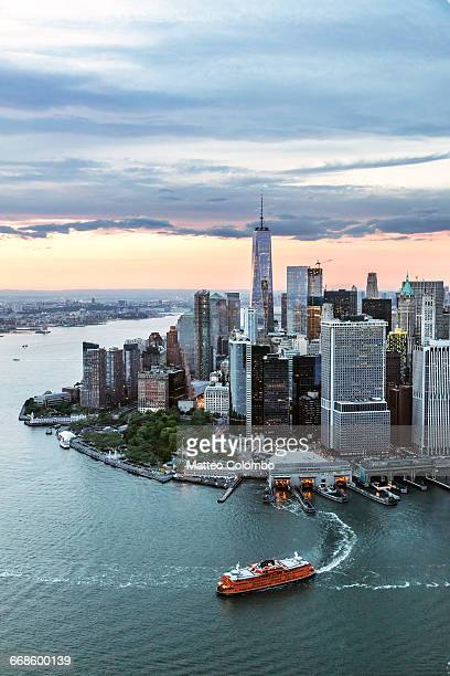 aerial of lower manhattan skyline, new york, usa - staten island ferry stock pictures, royalty-free photos & images