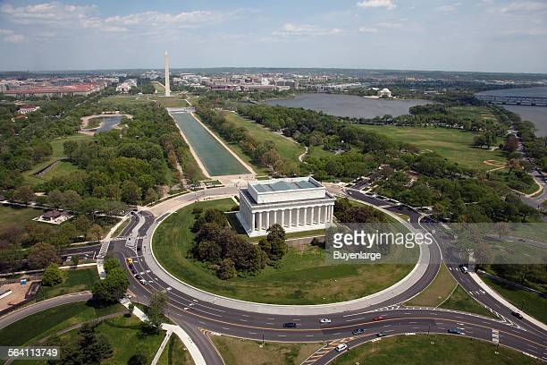 Aerial of Mall showing Lincoln Memorial Washington Monument and the US Capitol Washington DC